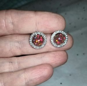 Fire Opal and CZ post earrings NEW!